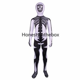 brand new black and white skull printed pattern lycra spandex bodysuit kids superhero skull cosplay costume for halloween