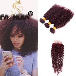 $enCountryForm.capitalKeyWord NZ - Burgundy mongolian kinky curly weave 99j red human hair bundles with lace closure 3 bundles with closure burgundy hair with closure