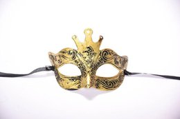 China Halloween Ancient Rome Male Antique Crown Half Face Carved Bronze Mask Masquerade Party Mask suppliers
