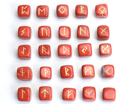 engraving block Canada - Set of 25 Red Jasper Rune Stones Set Engraved Pagan Lettering with a Free Velvet Pouch