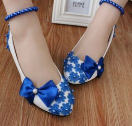 Low Heeled Shoes Bows Canada - Blue bow pumps shoes woman low heel handmade lace pearls beading blue dance shoes DG143 fashion lady coming-of-age evening party blue shoes