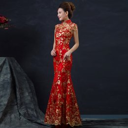 Or Rouge Robe Chinoise Pas Cher-Q228 Robe De Mariage Rouge Chinoise Long Long Cheongsam Manche Manches Slim Chinoise Traditionnelle Femmes Qipao Pour Mariage 8