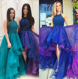 Photos De Robe De Danse Pas Cher-Salut Lo robes de bal 2017 avec des jupes à plusieurs niveaux et Halter Neck Real Photos Major perles perles Organza robe de bal Ring Dance Dress Custom Made