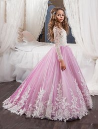 Les Enfants Du Soir Pas Cher-2017 Princess Long Sleeves Lace Flower Girl Robes Vestidos Puffy Pink Kids Evening Ball Gown Partyant Dressing Girls