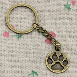 Dog Metal Key Chains NZ - Wholesale!! New Fashion Women&Men 30mm Key Chain DIY Metal Holder Chain Vintage dog paw 21mm Antique Bronze Silver Pendant