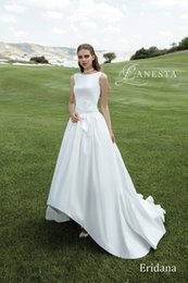 $enCountryForm.capitalKeyWord Canada - New High-low Short Front Long Back A-Line Wedding Dresses Jewel Neck Appliques Lace Vintage Outdoor Beach Wedding Dress Bridal Gowns Bow