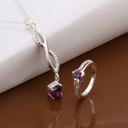 Wholesale Jewelry Gift Sets NZ - best gift Simple diamond sterling silver plated jewelry sets for women WS502,popular 925 silver necklace bracelet jewelry set