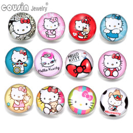 Interchangeable Snap Jewelry Wholesalers NZ - KZ0257 12pcs lot 18mm Snap Button Jewelry Faceted Glass Snap Fit DIY Bracelet Interchangeable Hallo Kitty Ginger Snaps Jewelry