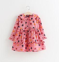 046d1a9f74ec Korean Kids Dress Clothing Canada - Girls Leaves Print 2 Line Ruffle Dresses  Fall 2018 Kids