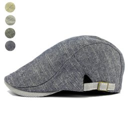 Herringbone Hats Canada - Wholesale-Adjustable Beret Caps Spring Summer Outdoor Sun Breathable Bone Brim Hats Womens Mens Herringbone Solid Flat Berets Cap Hat