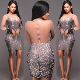 ffe29c033f Las mujeres atractivas lentejuelas de manga larga brillante malla escarpada  apretada Bodycon ver throuth Lápiz Mini vestido corto Sparkle Club vestidos  de ...