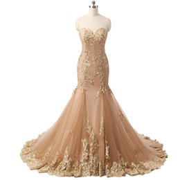 Robes De Bandage Usa Pas Cher-Real Photo Luxury Sequins Gold Robes de soirée 2017 Long Mermaid Robes de soirée Applique Lace Sparkly Prom Dress Sexy Engagement Gowns USA UK