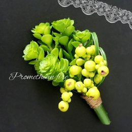 $enCountryForm.capitalKeyWord Canada - succulent plants wedding brooch pins artificial green yellow corsage boutonniere stick for best man suit wedding accessories groom groomsmen