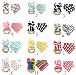 Wholesale 12 Styles New Baby Bibs Teething Ring Teeth Stick Sets Cotton bamboo fiber Infant Bibs Teething Ring Wooden Teething Training