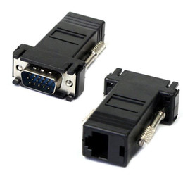 ethernet cable female connectors 2019 - VGA Extender Female Male To LAN Cat5 Cat5e RJ45 Ethernet Connector Adapter 100 pieces up in stock fast shipment