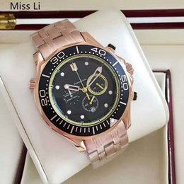 Mens swiss chronograph luxury watches online shopping - Luxury Men Quartz Chronograph Watches Black Dial Rose Gold Stainless Steel Original Clasp Date Swiss Brand Casual Mens Business Wristwatches