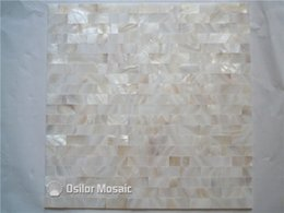 brick tiles kitchen Canada - white Chinese freshwater shell mother of pearl mosaic tiles for interior house decoration kitchen and bathroom wall tiles brick style