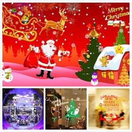 Christmas Window Stickers For Shops Canada - M-13 Happy New Year Christmas Snowflake Christmas Tree Wall Stickers Shop Window Stickers Glass Tea Shop Waterproof Stickers