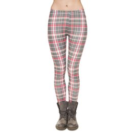 Barato Calças Cinza Skinny Yoga-Mulheres Leggings Gray Grid 3D Graphic Print Lady Skinny Stretchy Plaid Checked Jeggings Girl Pencil Calças Runner Casual Yoga Calças (J31744)
