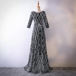 Satin Long Evening Dresses Canada - Really Photo Black Satin With Beaded O-Neck Half Sleeve Crystal Sash Zipper Floor Length A-Line Plus Size Long Promy Dress Evening Gown