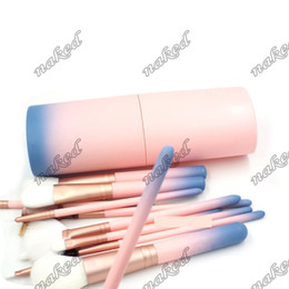 Packaging For Lipstick Australia - blue pink Gradient plastic cup holder 12pcs makeup brushes dusty free package 12 function brush for eyeshadow palette,lipstick,fondation