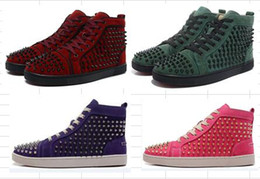 $enCountryForm.capitalKeyWord Australia - drop shipping casual Cheap red bottom sneakers for men with Spikes black suede fashion casual mens shoes ,2017 men high top leisure trainer