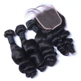 Wholesale Brazilian Peruvian Malaysian Loose Wave Hair With Closure 3 Bundles With Closure Brazilian Wet And Wavy Hair With Closure Wavy Human Hair