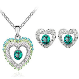 925 silver austria crystal online shopping - DHL Austria Crystal Pendant Necklace White Gold Plated Rhinestone Heart Shaped Earrings Angel Tear Fashion Jewelry Set Silver Necklace