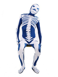 Costume Blanc Serré Pas Cher-DHL Blue White Skeleton Nude Suit Tight Zentai Body Spandex Stretch Mens Jumpsuit Adulte
