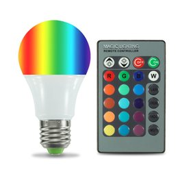 Wholesale  RGB LED Globe Light Bulb E27 Lamp LED 16 Color Change Lighting  Fixture With 24 Keys Remote Control 5W 10W 20W AC 85 265V Discount Changing  Light ...