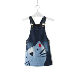 Motifs De Tutu De Filles Pas Cher-2017 Summer Fashion Princess Girl Baby Cute Kid Sans manches Denim Cat Pattern Dress One Piece 2-7T