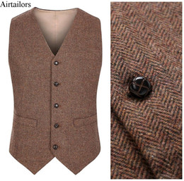 Barato Ternos Ajustados Feitos Sob Encomenda Do Slim-2017 New Farm Wedding Brown Wool Herringbone Tweed Coletes Custom Made Groom's Suit Vest Slim Fit Tailor Made Wedding Vest Men Plus Size