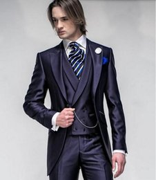 groomsmen tuxedos navy color UK - New Custom Made Navy Blue Groom suits Tuxedos Best Man Suit Peak Lapel Groomsmen Men Wedding Suits Bridegroom (Jacket+Pants+Vest)