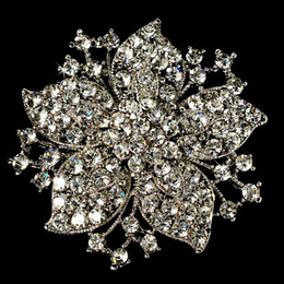 Wholesale Vintage Rhodium Silver Plated Clear Rhinestone Crystal Flower Wedding Invitation Pin Brooch