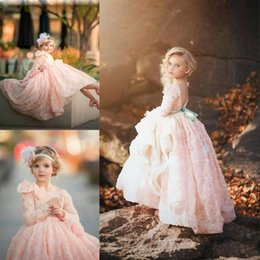 Vestidos De Cumpleaños Baratos-Couture Elegante Rubor-Pink Flower Girls Vestido Lovely Mangas Largas Zipper Backless Pequeño Girld Cumpleaños Vestido Pretty Girls Communion Dress