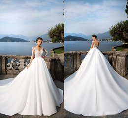 sheer bridal top NZ - 2018 Glamorous A Line Sheer Long Sleeves Wedding Dresses V Neck Applique Lace Top Satin Skirt Chapel Train Long Bridal Gowns