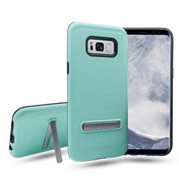 China For ZTE Zmax pro Z981 MAX XL N9560 Zmax pro 2 Armor Hybrid Brush Carbon Fiber Silicone+ PC +TPU Kickstand Phone Case suppliers