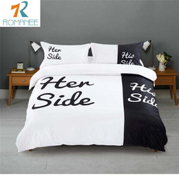 wholesale romanee brand home bedding sets queen king size double bed black white bedspread 3pcs - Bedspreads King Size
