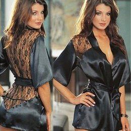 Érotique Satiné Chaud Pas Cher-2017 Hot Sexy Lingerie Plus Taille Satin Lace Black Kimono Intimate Sleepwear Robe Sexy Night Gown Femme Sexy Erotic Underwear
