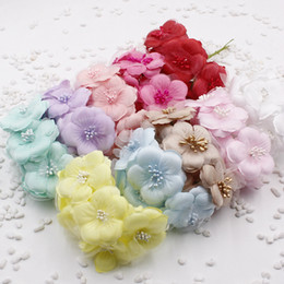 Wholesale Silk Mini Bouquets NZ - 5.5cm Silk Mini Chrysanthemum Scrapbooking Corsage Flower Bouquet For DIY Wedding Decoration Wreath Craft Bridal *Free Shipping*