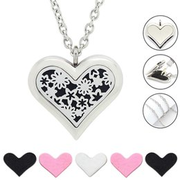 Frees 35mm Canada - Free with Chain as Gift! Hot Sale 35mm Large Heart Silver Diffuser Necklace 316L Stainless Steel Perfume Aroma Locket Necklace