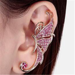 Elf Ears Earrings online shopping - Crystal Earrings Butterfly Earrings Full of Diamond Elf Ear Cuff No Pierced Ear Clip Hanging Fashion Jewelry Ear Cuff Accessories