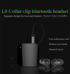 wireless clip microphone NZ - Newest L8 Wireless Bluetooth Headphones Clip Earphone with Microphone Car Bluetooth audio receiver Headset stereo bass earbud support music