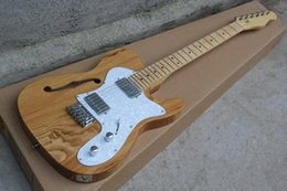 China Hot Sale Factory Custom Semi-hollow Electric Guitar with Original wood Color Body and White Pearl Pickguard,Can be Changed suppliers