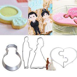$enCountryForm.capitalKeyWord NZ - 4pcs bride groom Ring candy cake decorating fondant Heart Bread mold moldes metal mold bride wedding cookie cutter for valentines