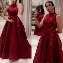 Barato Longo Vestido Vermelho Sequin-Árabe Dark Red Lace Evening Dresses Long 2017 High Neck Bling Sequin Prom Dress Zipper Custom Made Party Gowns