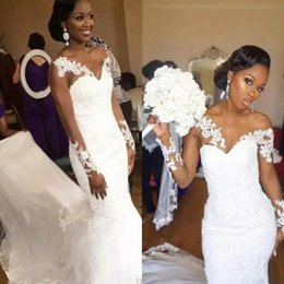 simple african wedding dresses 2019 - African Mermaid Wedding Dresses Sweetheart Sheer Neckline Lace Appliques long Sleeves Wedding Gowns Cunt Train Cheap Bri