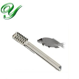 Fish Skin Remover Canada - fish scales scraper fast cleaning knife stainless steel Handle Fish skin Remover silver scaler practical kitchen shaver