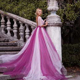 $enCountryForm.capitalKeyWord Canada - Mixed color wedding dresses beading backless sexy women girl wedding dress gown with Sleeve 2019 Tulle Skirt High low Colorful wedding dress