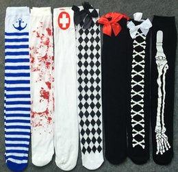 Barato Longo Vestido Apertado Branco-Sangue assustador Stained Zombie Meias Meias Cosplay Enfermeira Fantasia Sangue Skeleton Mancha Meias Thigh Socks Longo branco Festive supplies